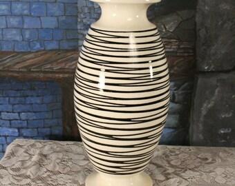 Haeger Shaped Multi-Directional White Black 1970 1960 rare Large Vase Mid Century Modern  Art Pottery Royal Haeger  Vintage