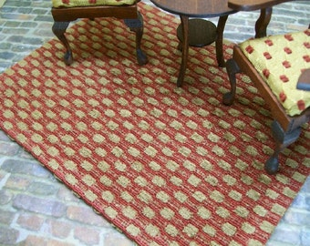 Sm Rust Gold Rug Carpet Checked 1:12 Dollhouse Miniatures Artisan