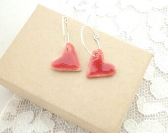 Handmade Porcelain and Sterling Silver Heart Earrings