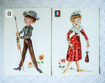 FOUND IN SPAIN -- 2 vintage postcards -- European traditional dress - France