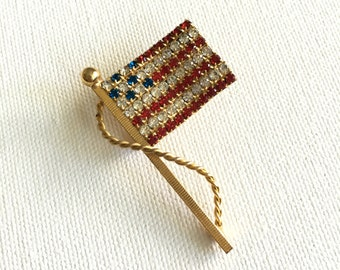 Vintage Rhinestone and Gold Flag Brooch