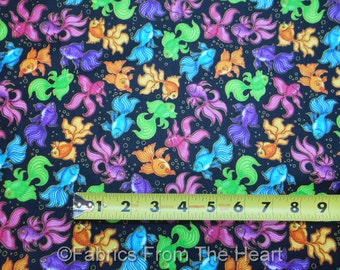 Goldfish in Neon w Gold Metallic A Tale of Two Kittie BY YARDS QT Cotton Fabric
