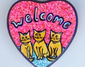Three Cats - Cat Welcome Sign - Hand Painted Welcome Sign