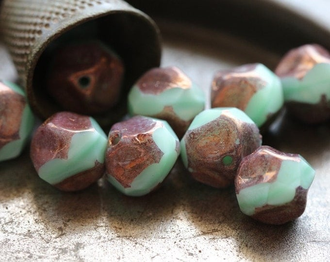 sale .. BRONZED MINT NUGGETS .. 10 Picasso Czech Glass Baroque Beads 9mm (5311-10)