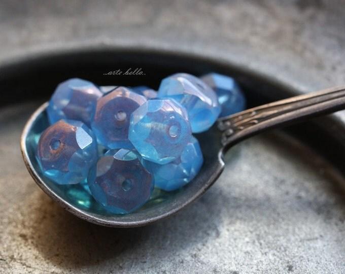 BLUE PLUM .. 10 Picasso Czech Blue Glass Beads 6x8mm (B125-10)