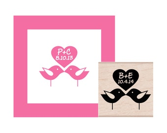 Love Birds with initials and Special Date Personalized Rubber Stamp