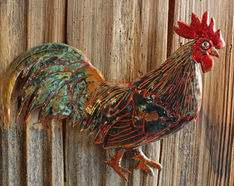 Rooster - large copper metal chicken bird fowl sculpture - wall hanging - with verdigris blue-green patina - OOAK