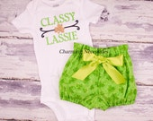 St Patricks Day Baby Outfit, Baby Girl Clothes, Toddler Girl Clothes, Classy Lassie Glitter Shirt and High Waist Bloomers