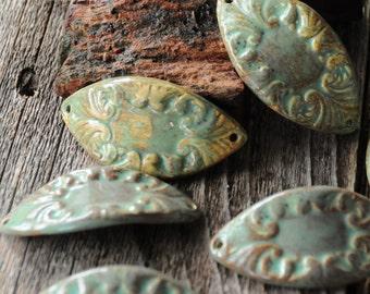 The Almendra, one pottery cuff bead in Sea Green