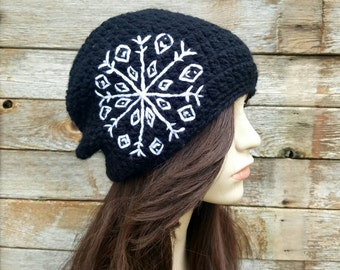 Women's Slouchy Hat with Embroidered Snowflake, Women's Slouchy Beanie, Winter Hat, Black Hat, Boho Beanie, Bohemian Hat, MADE TO ORDER