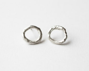 Circle Stud Earrings, Circle Earrings, Circle Studs, Round Stud Earrings, Circle Post Earrings, Sterling Earrings, Minimalist Studs