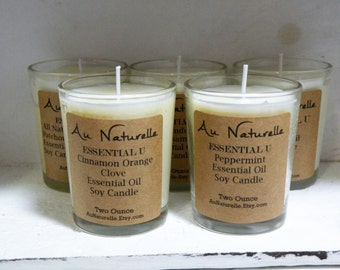 ESSENTIAL U  -   Two Ounce -Soy Candle Scented With Pure Natural Essential Oils  -  NEW Scents - Lavender Balsam