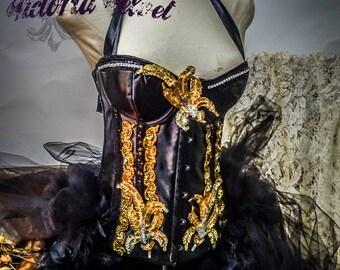 The Black Swan Burlesque Halloween Victoria Velvet Corset Costume L