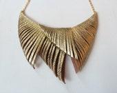 Metallic Gold Sliced Leather Fringe Necklace