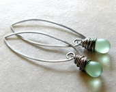 CIJ Sale Free Shipping Drop Earrings Mint Green Sterling Silver Gifts for Her