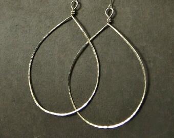 Sterling Silver Teardrop Earrings XX Large Hammered Teardrop Earrings Eco Friendly Jewelry Gifts for Her