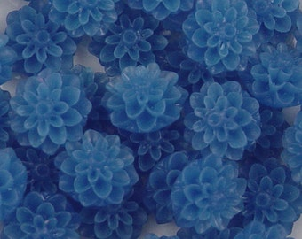 Cabochon Flower 8 Frosted Resin Dahlia Flower Round Blue 15mm (1011cab15m9-9)