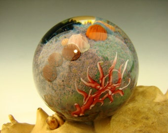 Coral Reef Glass Art Marble Jellyfish Implosion Ocean Orb by Aaron Slater VGW