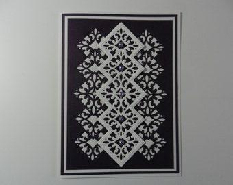 Handmade Greeting card Birthday  purple and white