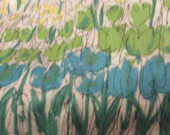 VERA PLACEMATS, Blue and Green on Tan, Tags Still On, Flower Placemats by Vera, New Old Stock, Vintage, Never Used Placemats, Vera Neumann