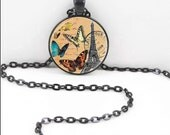 Eiffel Tower Necklace, Eiffel Tower Pendant, Eiffel Tower  Vintage Bohemian Gypsy Jewelry  PAR4