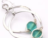 Love Knot Hoop Earrings with rustic glass