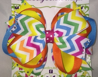 Large Layered Bright Chevron Bow with Bling