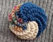 Blue Tan Swirl Crochet Tawashi Dish Scouring Pad Scrubby bath pouf puff scrubber exfoliating beauty sponge
