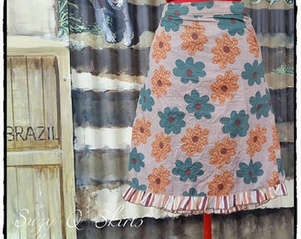 Womens Fully Lined Coffee Coloured Flower Wrap Skirt with Stripes Ruffle