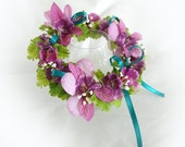 Doll Flower Crown American Girl Doll Flower Crown 18 Inch Doll Flower Crown Magenta and Teal Flower Crown Am Girl Doll Flower Summer Crown