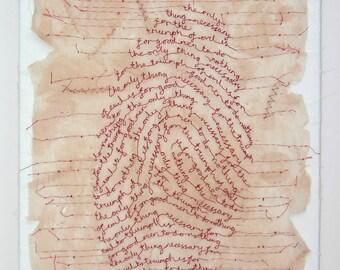 Art canvas - Guilt - original textile art, Edmund Burke quote, machine embroidery text