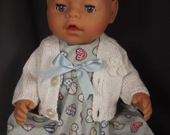 DRESS and CARDIGAN SET for Baby Doll 16 to 17 in - Baby Born/Anabell or similar