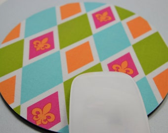 Buy 2 FREE SHIPPING Special!!   Mouse Pad, Fabric Mousepad   Bright Fleur de Leis