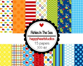 Digital Scrapbook  FishiesInTheSea-INSTANT DOWNLOAD