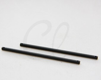 2pcs Matte Black Plated Brass Base Square Bar with Two Holes 2x65mm (3065C-N-79)