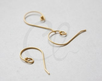 4 Pieces (2 Pairs) Premium Matte Gold Plated Brass Base Earring Wire - Earring Hooks 28x17mm (1894C-I-388)