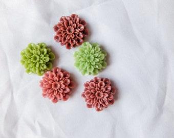 Large Green and Purple Floral Chrysanthemum Resin Cabochons / Flatbacks - 5 pcs - Jewelry making, DIY, Craft, Resin art