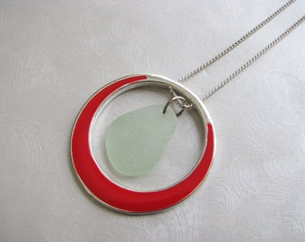 Seafoam Sea Glass - Sea Glass Pendant - Red Circle Pendant - Beach Glass Jewelry