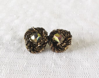 50s 60s Vintage Brown Beaded Cluster Earrings with Aurora Borealis Centers Clip On Style