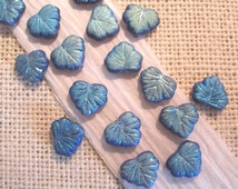 Czech Maple Leaf  Iridescent  Blue 10x13mm Glass Beads - 20 Count