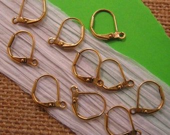 Small Leverback Ear Wires from Nunn Design in Antique Gold - 6 Count