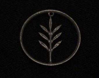 PALESTINE - 1942 - cut coin pendant - Olive Seedling
