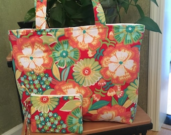 Bright Floral in Oranges and Yellows ~ Large Tote / Beach Bag & Wristlet  Combo