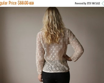 ON SALE 1970s Crocheted Cardigan~Size Extra Small to Medium