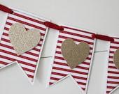 Valentine's Day Banner, Heart Banner, Valentine's Banner, Valentine's Decor, Glitter Banner - RED STRIPE