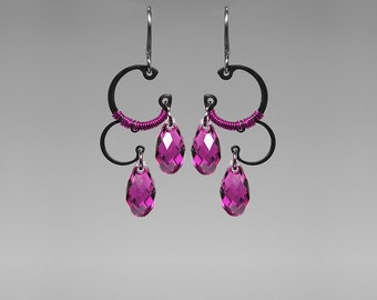 Pink Swarovski Crystal Earrings, Industrial Earrings, Fuchsia Swarovski, Space Jewelry, Bridal Jewelry, Wire Wrapped, Chaldene II v4