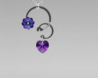 Heliotrope swarovski Crystal Pendant, Iridescent Crystal, Industrial Jewelry, Blue Crystal, Purple, Swarovski Necklace, Blue Shift v8