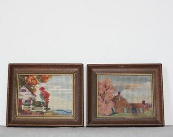 framed cross-stitch house portraits