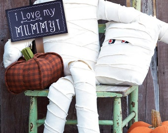 I Love My Mummy Doll & Pillow sewing epattern - create two sizes of mummy pillow and large mummy doll for Halloween or fall decor