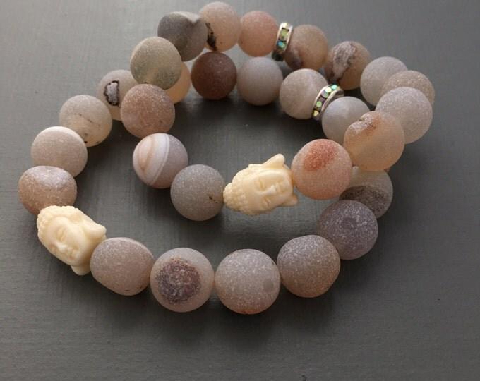 matte druzy agate large mala bracelet with buddha, yoga jewelry, buddha bracelet, beaded bracelet, gemstone bracelet, stretch bracelet, yoga